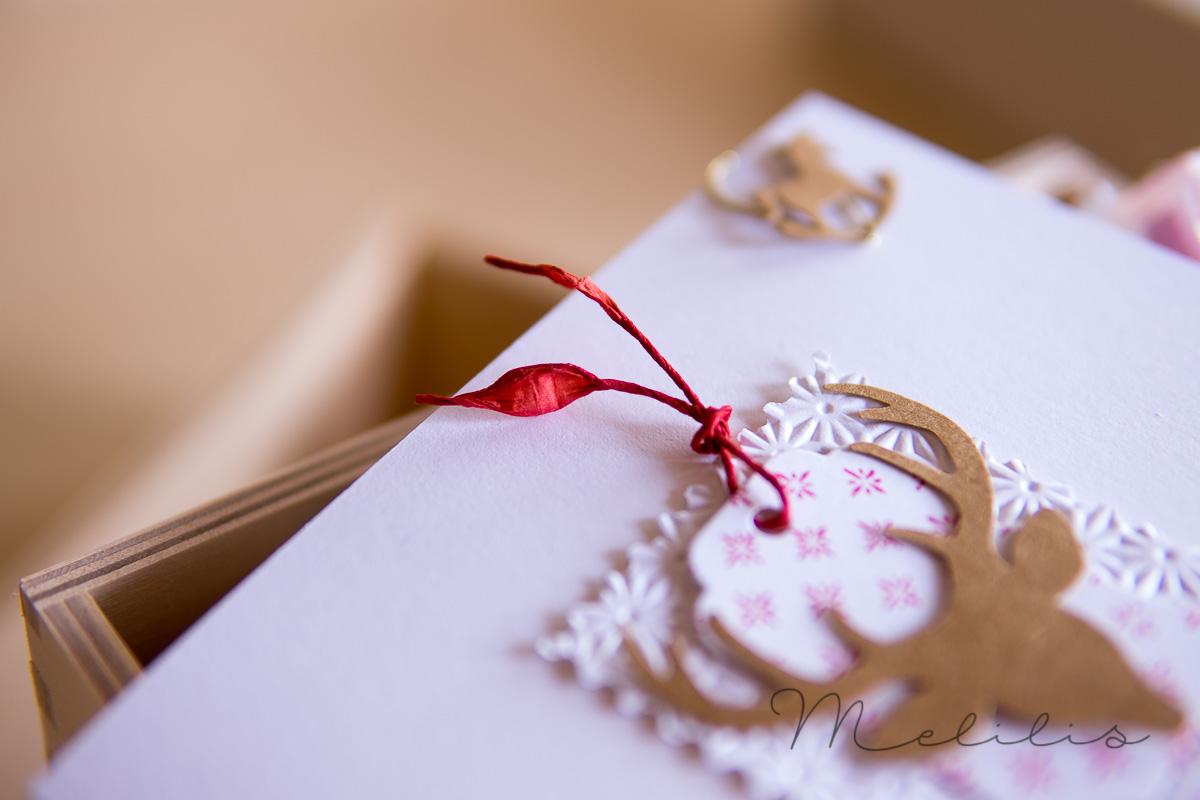 Weihnachtskarte weiß rot und kraft